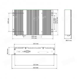 Esquema de dimensiones de Mini PC indicado para el analizador infrarrojo NIR Infraneo de Chopin Technologies